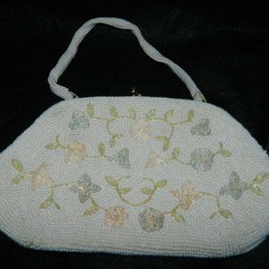 White Clear Glass Beaded Flower Floral Handbag